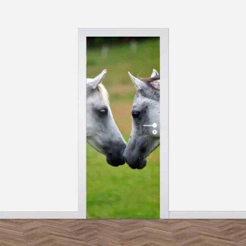 Deursticker Witte paarden