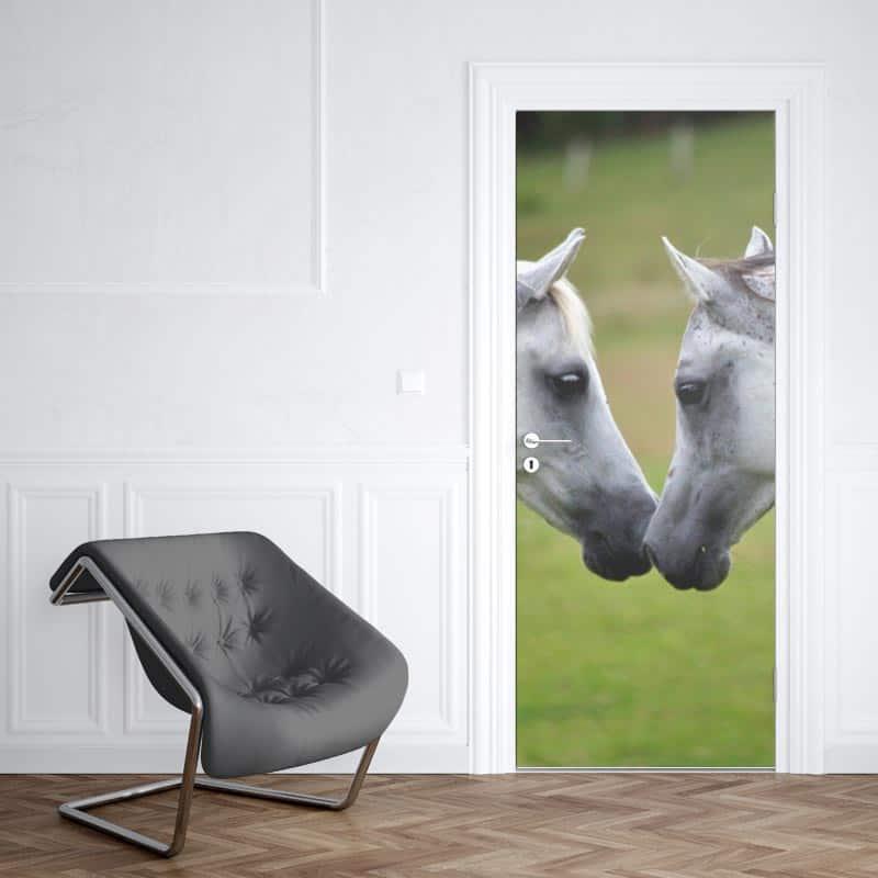 Deursticker Witte paarden 1