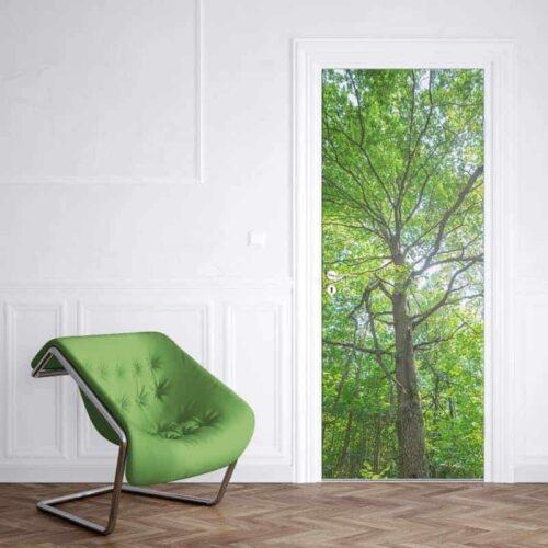 Deursticker boom met groene bladeren 2