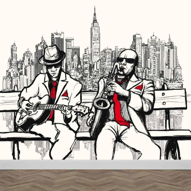 Fotobehang New York muzikanten illustratie
