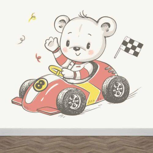 Fotobehang beertje in racewagen