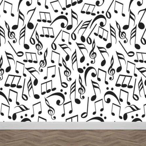 Fotobehang muzieknoten zwart wit