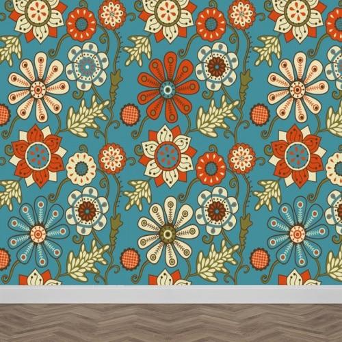 fotobehang retro bloemen patroon