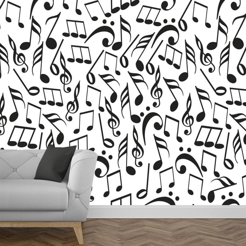 Fotobehang muzieknoten zwart wit 2
