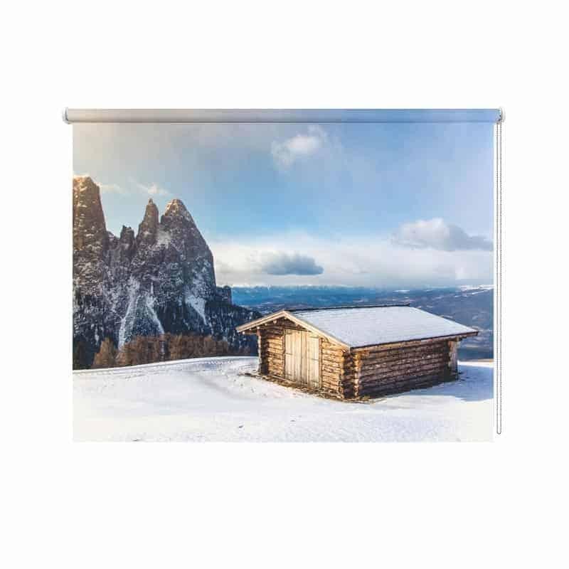 Rolgordijn Hutje in de sneeuw