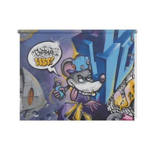 Rolgordijn graffiti muis