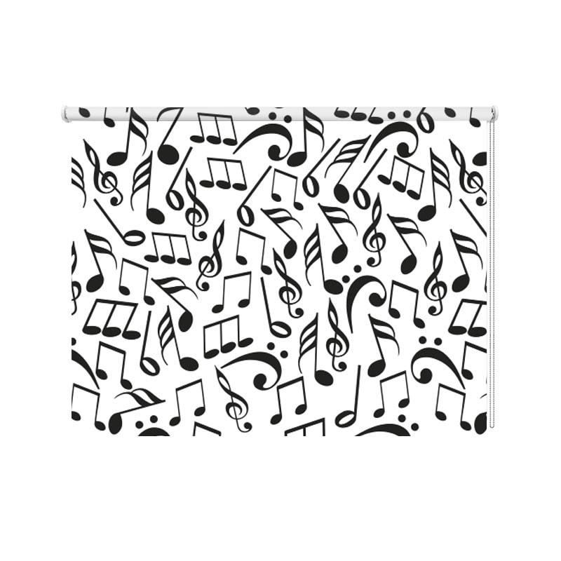 Rolgordijn muzieknoten zwartwit
