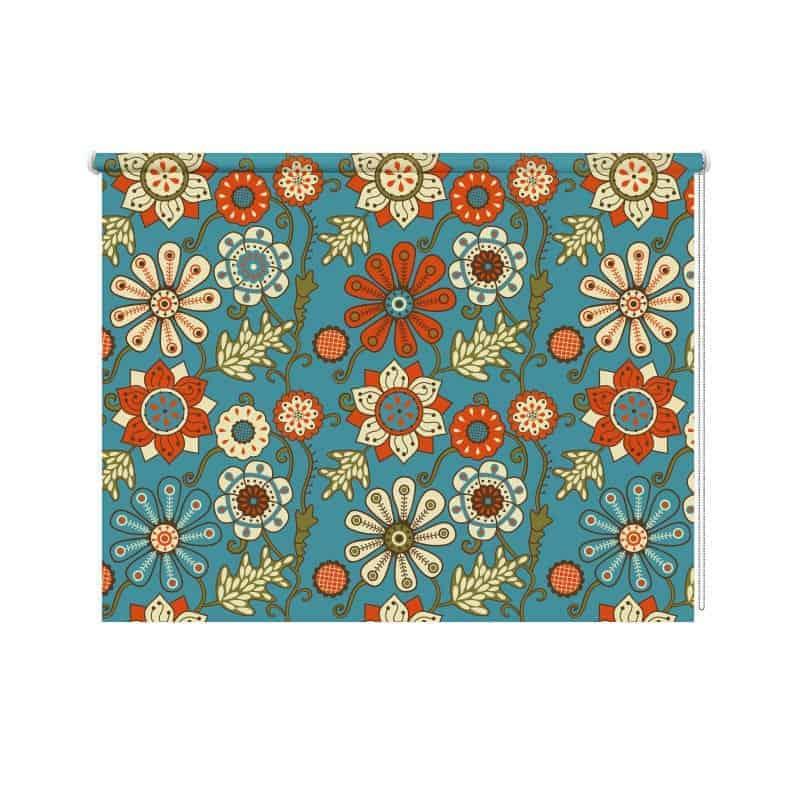 rolgordijn retro bloemen patroon