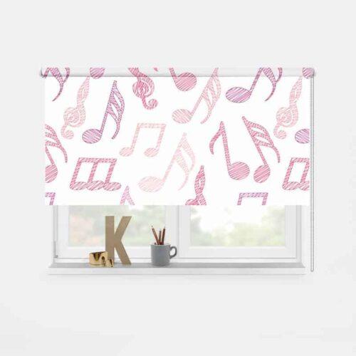Rolgordijn Muzieknoten (roze)