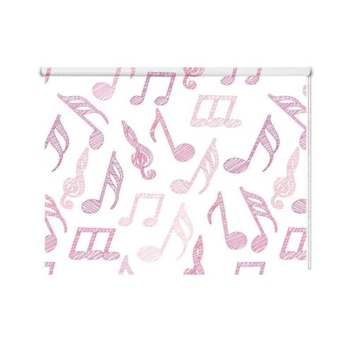 Rolgordijn Muzieknoten roze