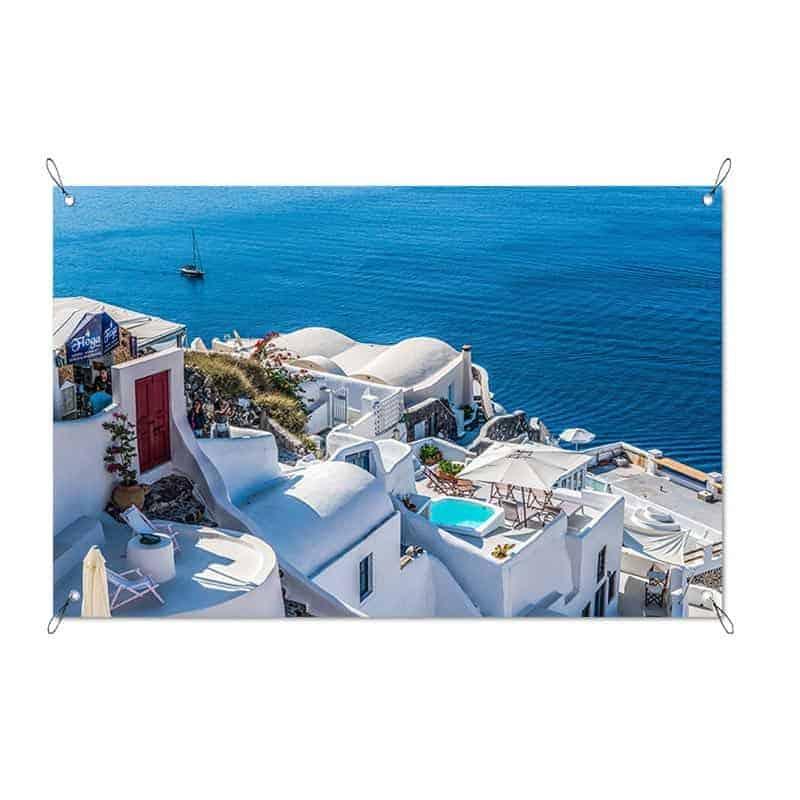 Tuinposter Grieks dorpje