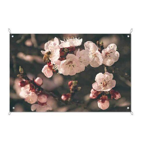 Tuinposter roze bloemetjes