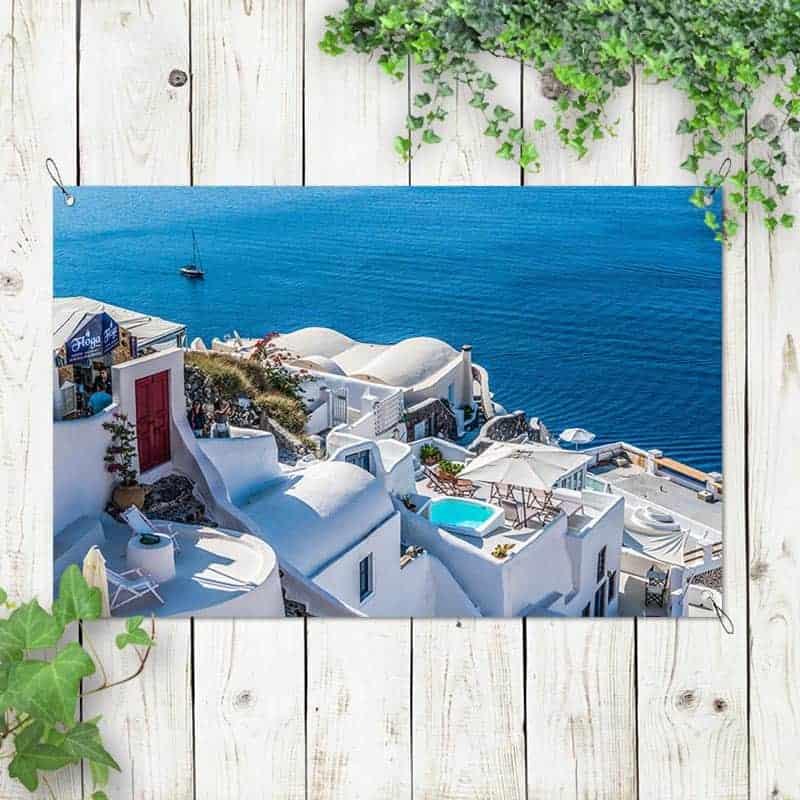 Tuinposter Grieks dorpje 1