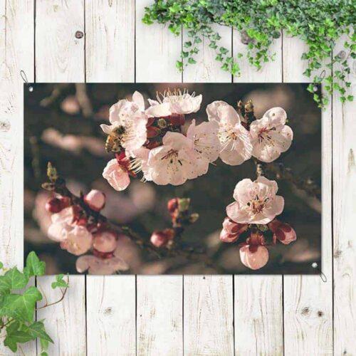 Tuinposter roze bloemetjes 1
