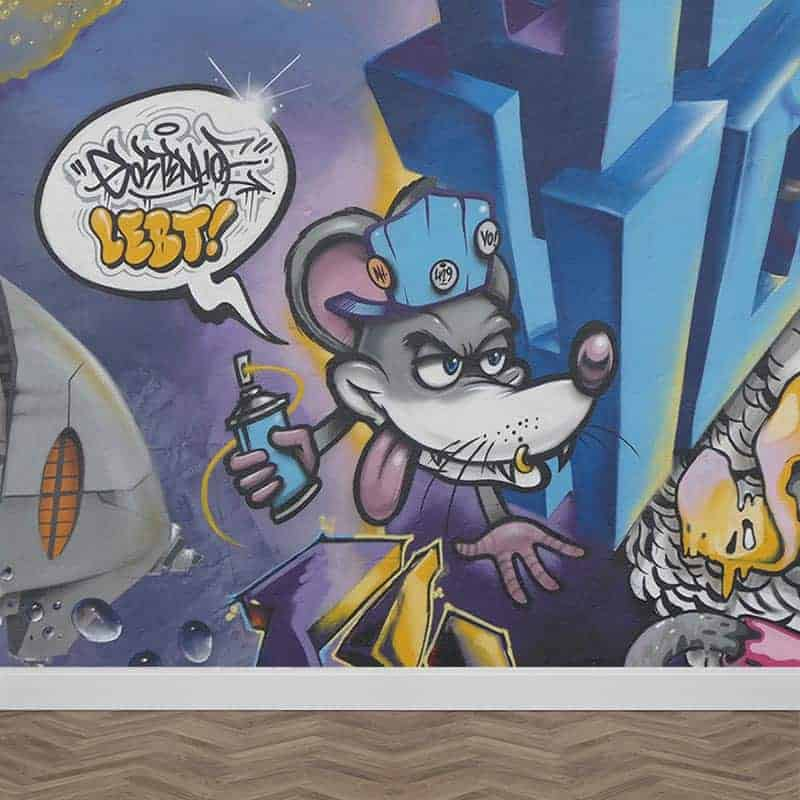Fotobehang graffiti muis