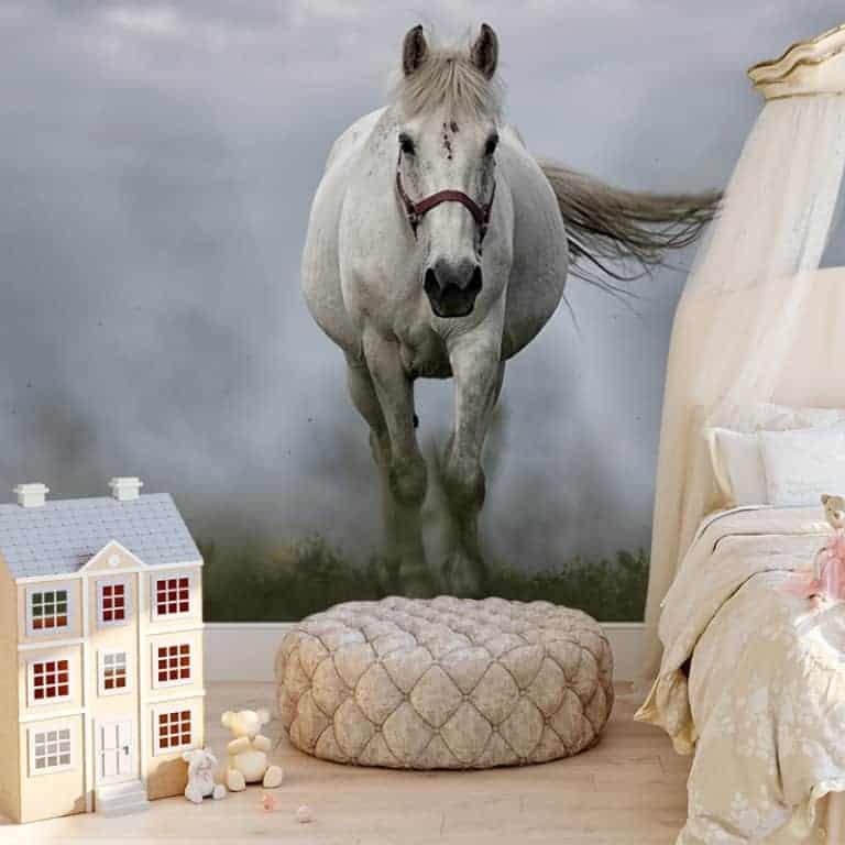 Fotobehang wit paard 2
