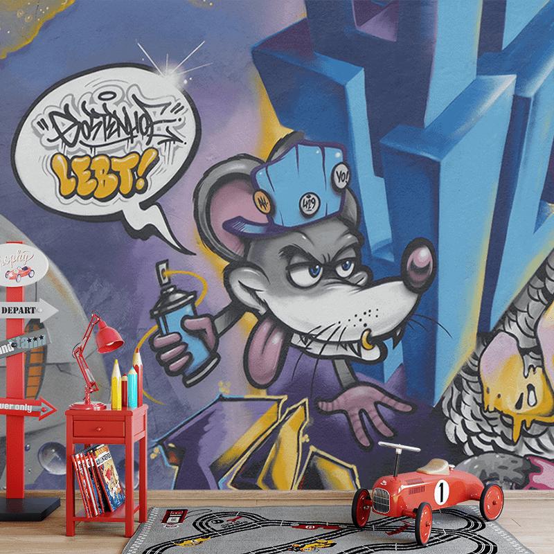 Fotobehang graffiti muis 2