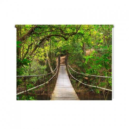 Rolgordijn Touwbrug in regenwoud
