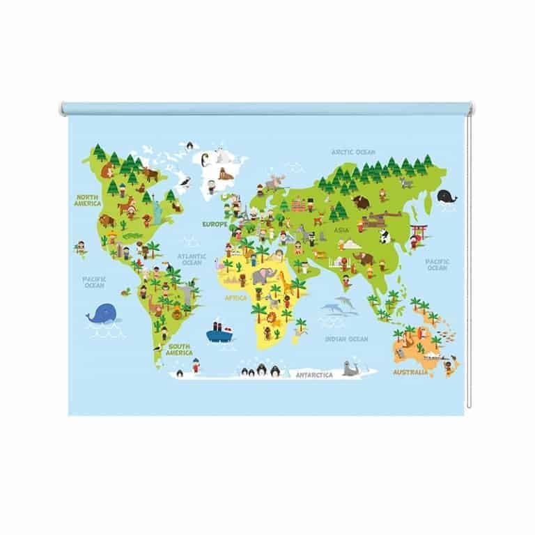 Rolgordijn Speelse wereldkaart