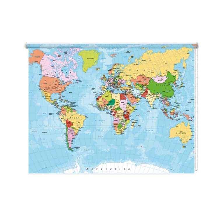 Rolgordijn Wereldkaart