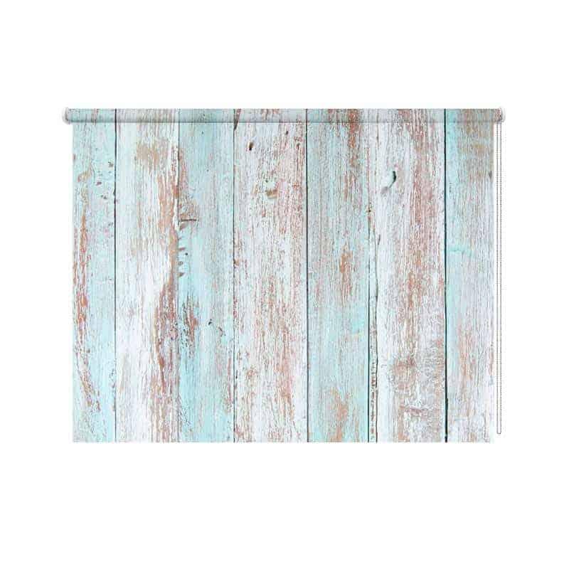 Rolgordijn blauwe planken