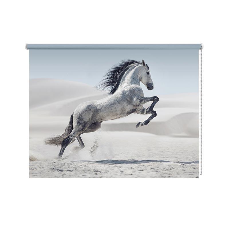 Rolgordijn steigerend wit paard