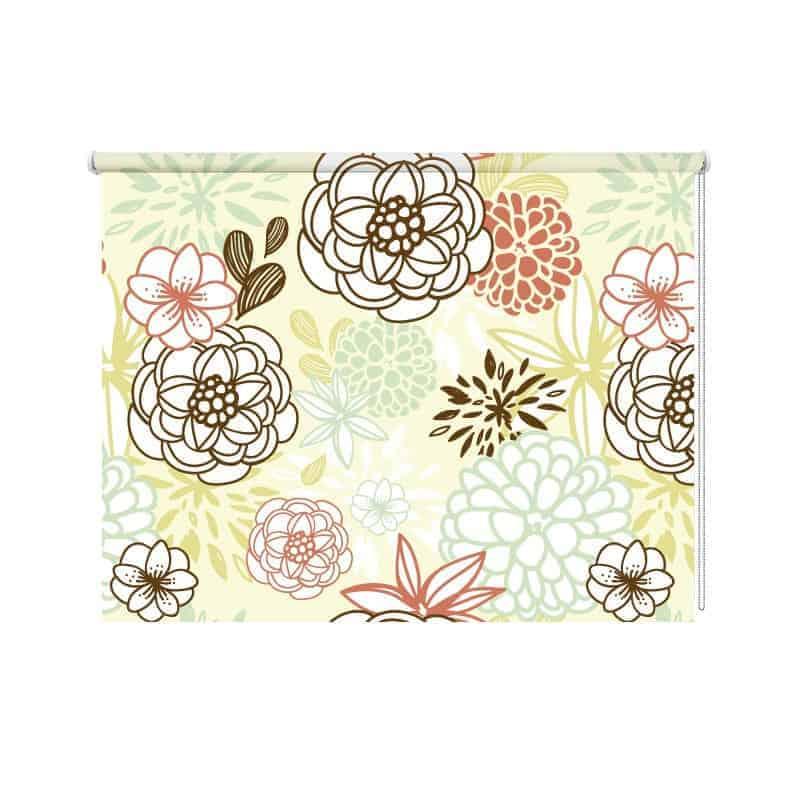 Rolgordijn Grafische bloemen
