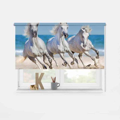 Rolgordijn Paarden op het strand 1
