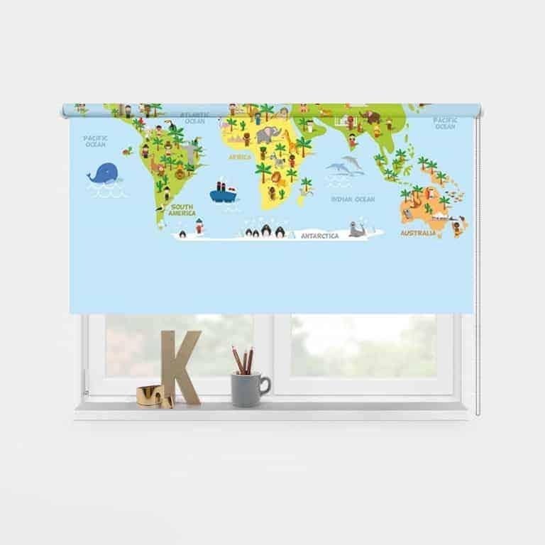 Rolgordijn Speelse wereldkaart 1