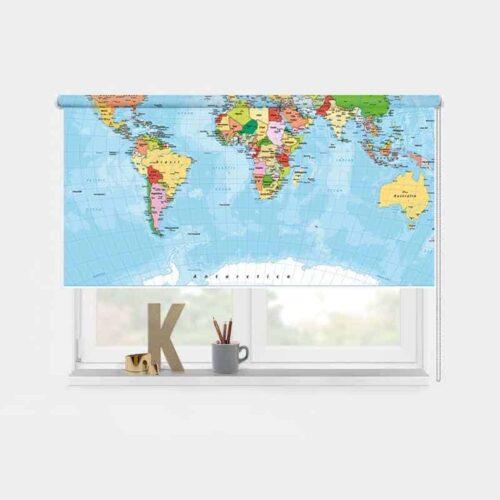 Rolgordijn Wereldkaart 1