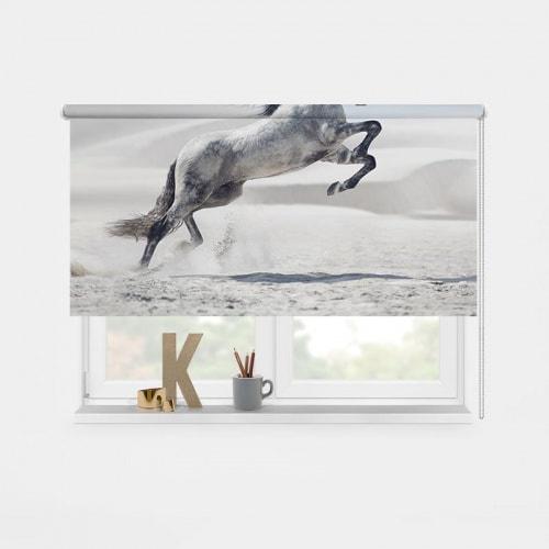 Rolgordijn steigerend wit paard 1