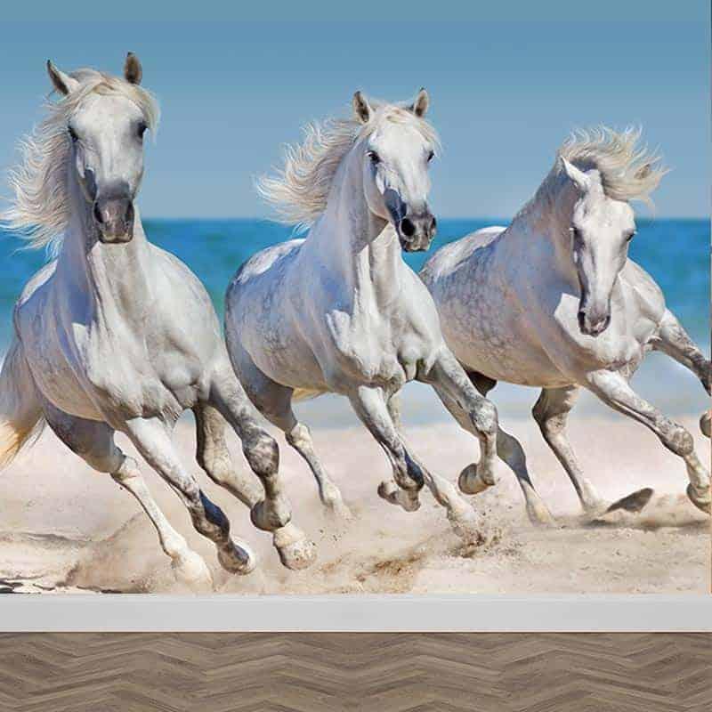 Fotobehang paarden op het strand 1