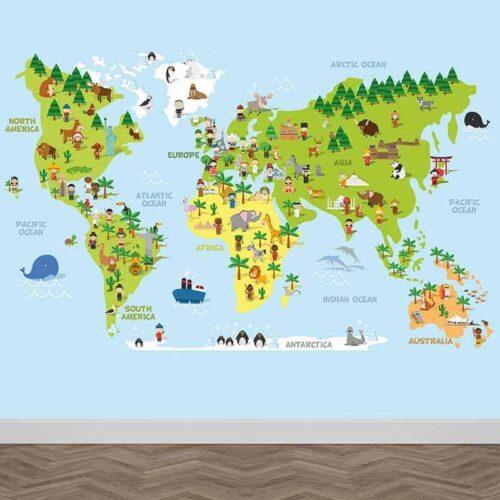 Fotobehang Speelse wereldkaart