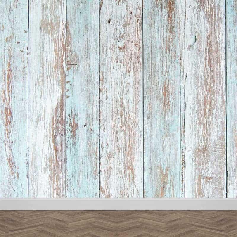 Fotobehang steigerhout blauw