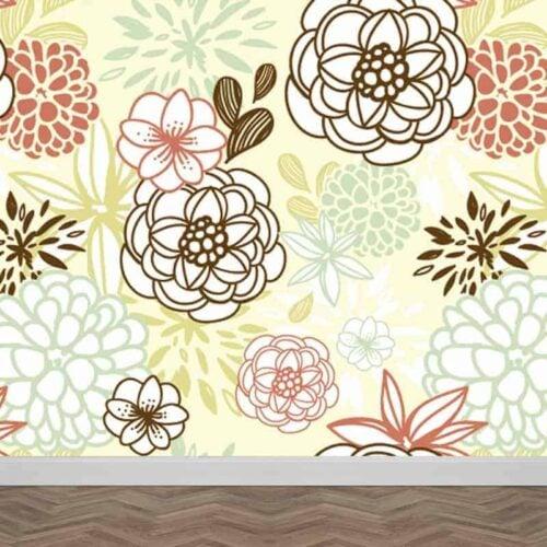 Fotobehang grafische bloemen