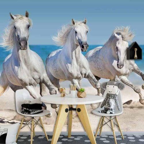 Fotobehang paarden op het strand