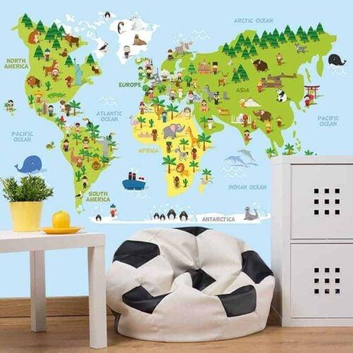 Fotobehang Speelse wereldkaart 1
