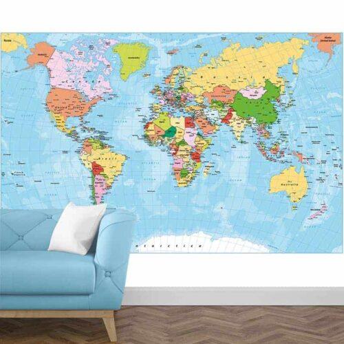 Fotobehang Wereldkaart 1