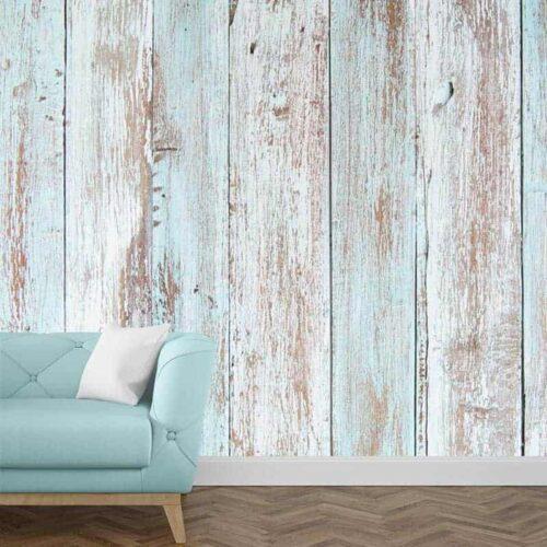 Fotobehang steigerhout blauw 1