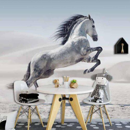 Fotobehang Steigerend wit paard 1