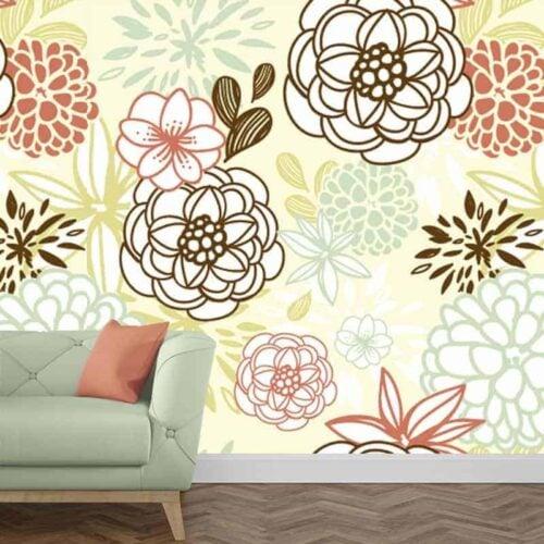 Fotobehang grafische bloemen 1