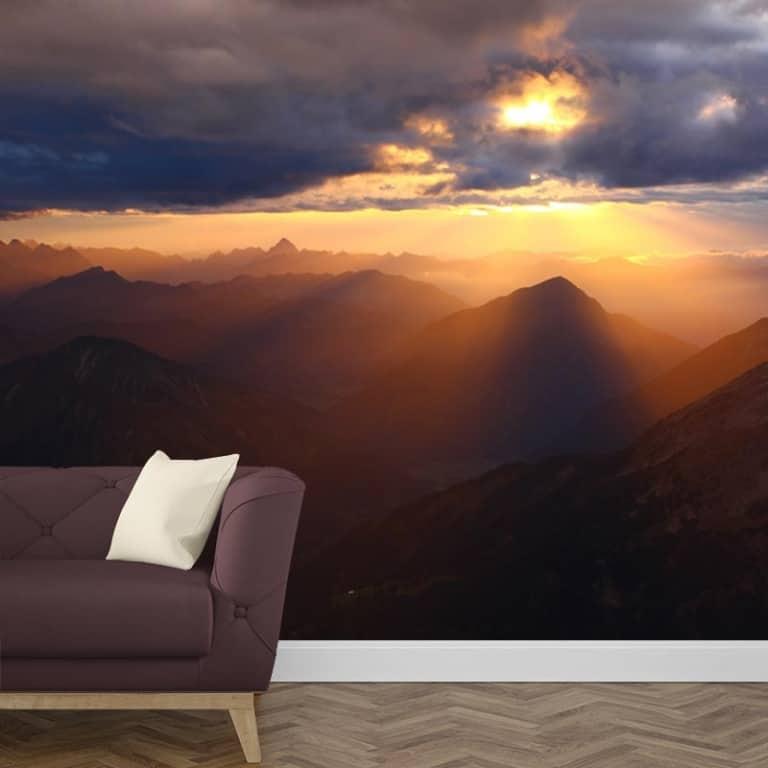 Fotobehang zonsondergang in de bergen 1