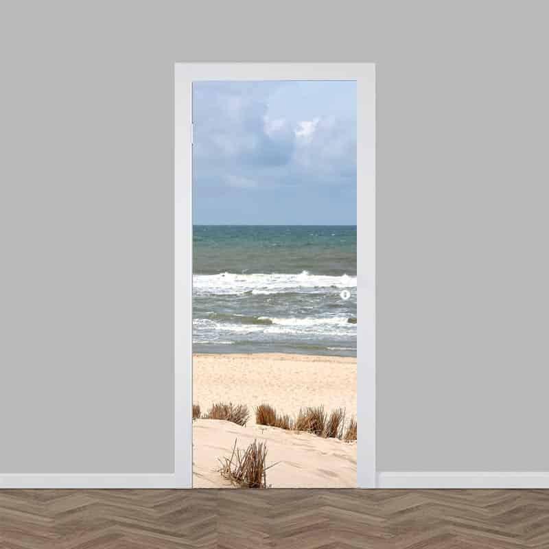 Deursticker zee strand en duinen