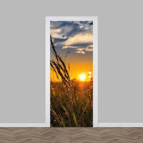 Deursticker zonsondergang korenveld