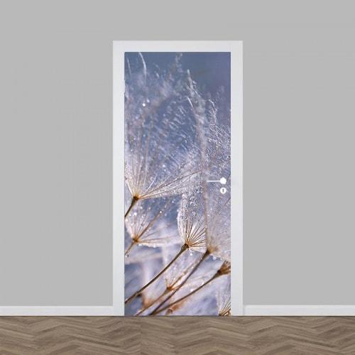 Deursticker Dandelion grijs blauw