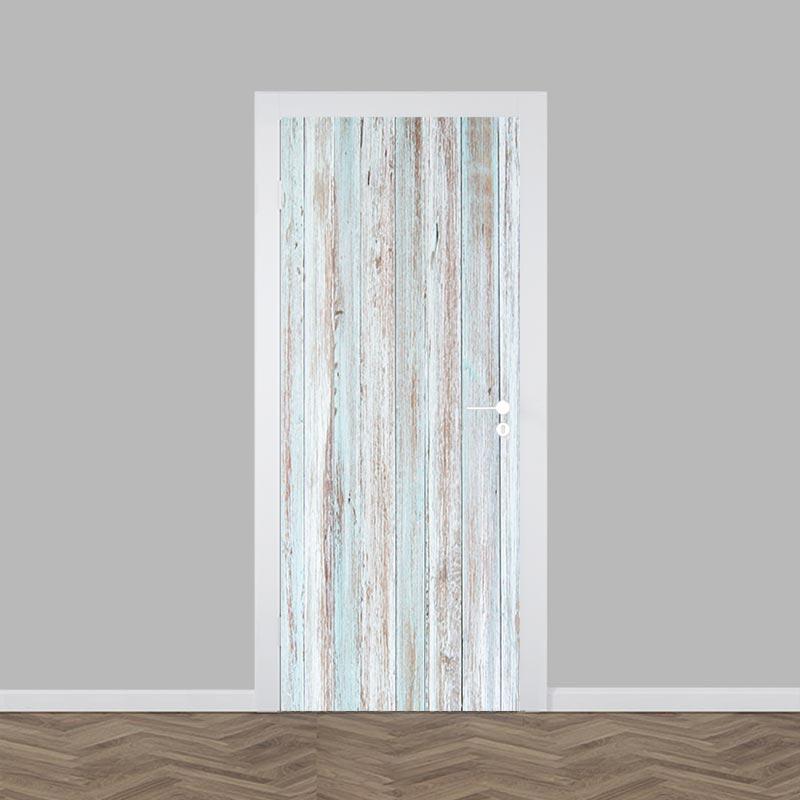 Deursticker steigerhout blauw