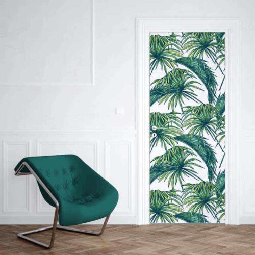 Deursticker tropische bladeren 1