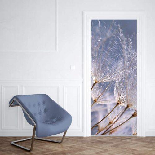 Deursticker Dandelion grijs blauw 1