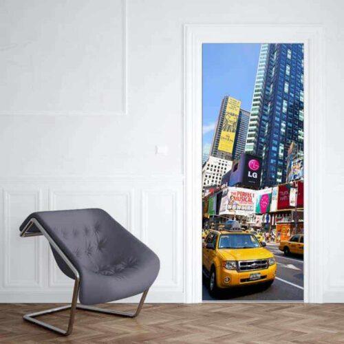 Deursticker New York yellow cab