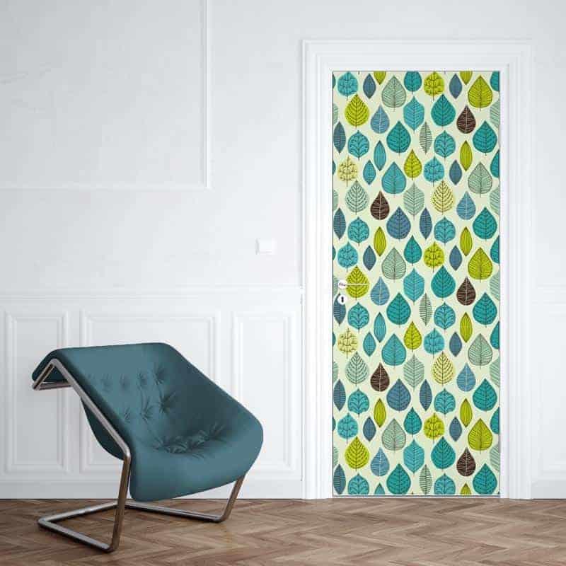Deursticker groen blauwe bladeren 39 make over 39 voor deur - Coulissan deur je dressing bladeren ...